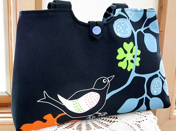 Handbag Purse Tote in  Bird on a Branch in Black Vintage Button Made in the USA