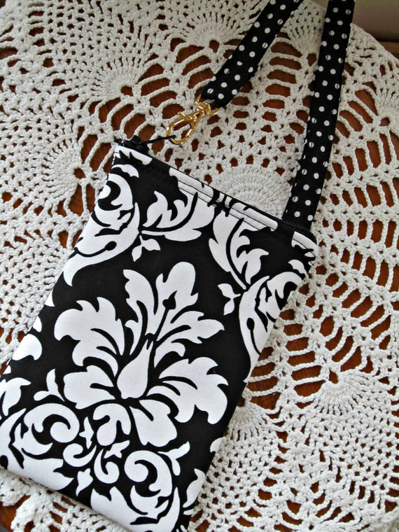 Padded Gadget Case, Cell Phone, iPod, Smart Phone, Blackberry, iPhone Black and White Damask