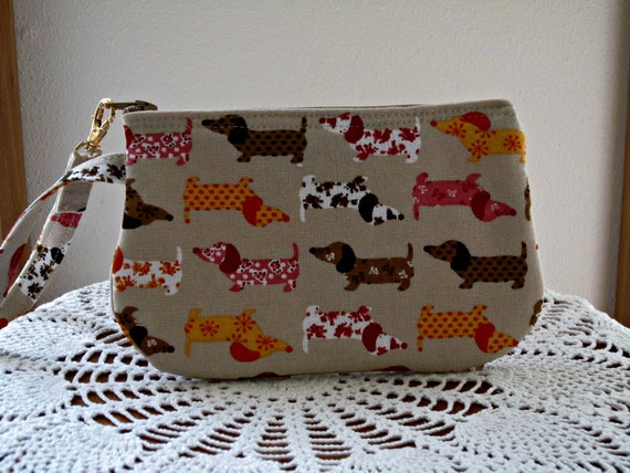 Clutch Wristlet Zipper Gadget Pouch Doxies on Parade