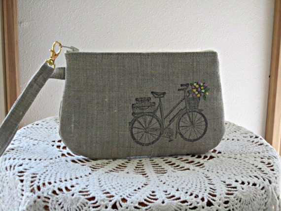 Handstamped Linen Wristlet  Clutch Zipper Gadget Pouch Retro Bicycle Hand Embroidered
