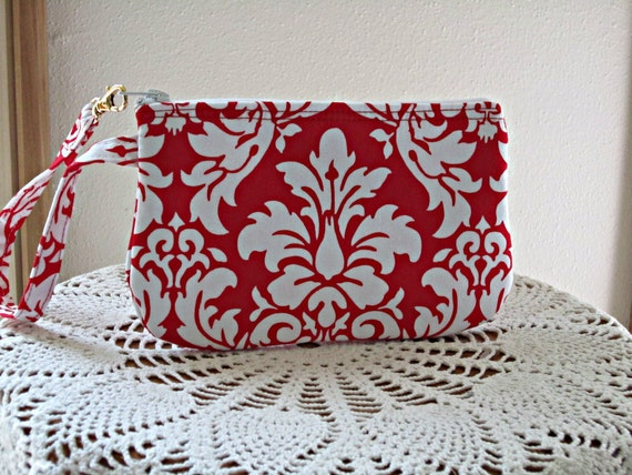 Wristlet Zipper Gadget Purse Pouch in Red and White Damask