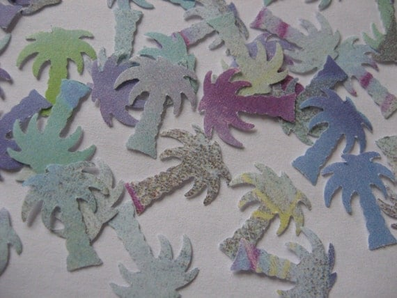 Blue Green and Purple Paper Punch Palm Trees