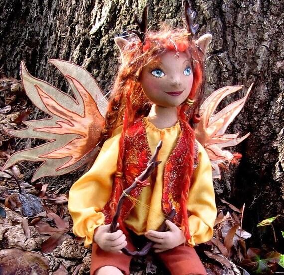 OOAK Fairy Art Doll - The Autumn Harpist