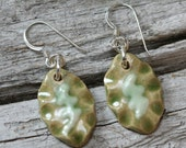 Green Stoneware and Porcelain Slip Sterling Silver Earrings