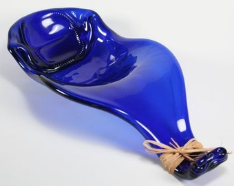 Cobalt Blue Wine Bottle Wave Serving Bowl - XL Spoon Rest - Recycled Eco-Friendly