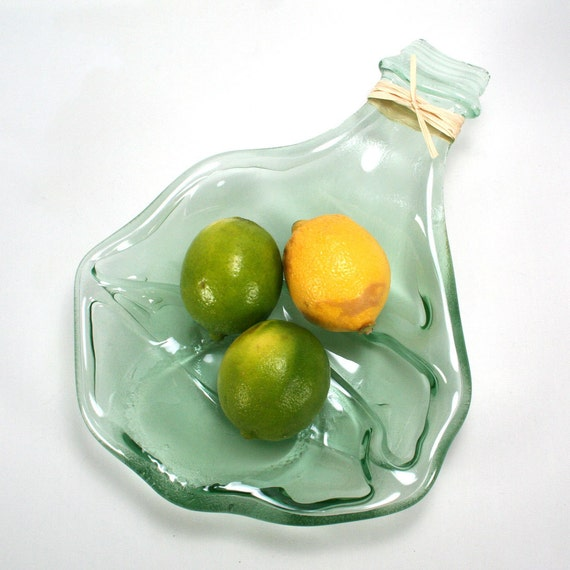 Large Light Green Wine Bottle Serving Bowl - Recycled Eco-Friendly