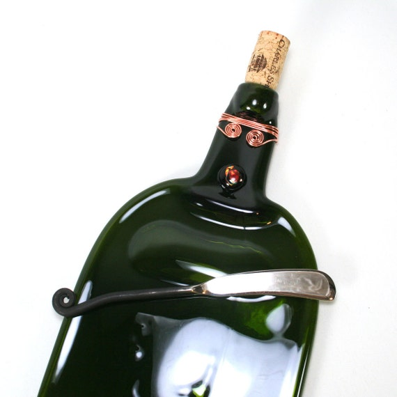 Large Green Wine Bottle Serving Tray with Cork and Spreader - Recycled Eco-Friendly