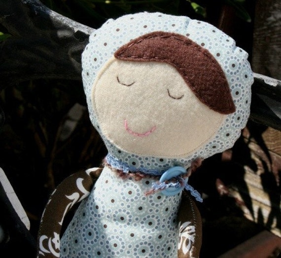 SALE Brown and Blue Funky Rag Doll, One of a Kind, Hand Stitched Face