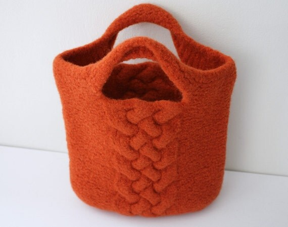 Felted Handbag in Burnt Orange