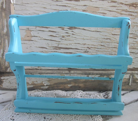 Aqua Shelf, Spice Rack, Cottage Chic, Turqoise, Summer, Wood, Painted, Shabby, Prairie, Farmhouse Chic