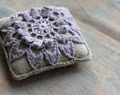 Linen  pincushion - crochet motif - lavender