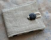 Small Linen Needle Book - Hedgehog Button - blue