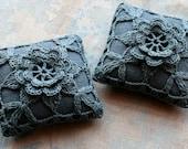 Linen  pincushion - crochet motif -- dark grey