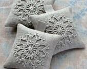 Lavender sachets -- crochet motif -- set of 3