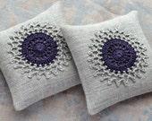 Lavender sachets -- crochet motif -- set of 2 -- plum