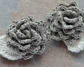 Crochet Linen Flowers Brooch -- natural flax