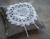 Linen Ring Bearer Pillow in Natural with Hand Crocheted Detail