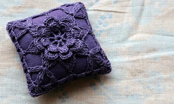 Linen  pincushion - crochet motif -- plum