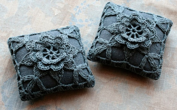 Linen  pincushion - crochet motif -- dark grey