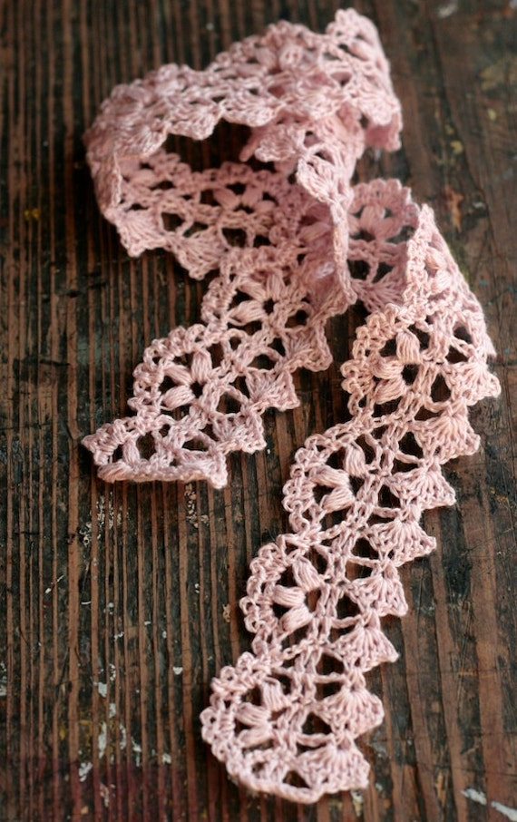 Hand Crocheted Linen Edging, Lace Trim -- pink
