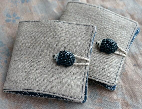 Small Linen Needle Book - Hedgehog Button - navy