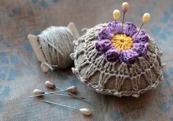 Linen  pincushion - crochet motif -- purple flower