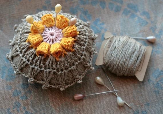 Linen  pincushion - crochet motif -- yellow flower