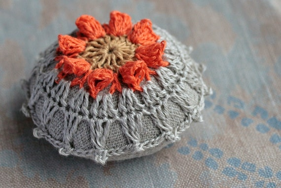 Linen  pincushion - crochet motif - orange