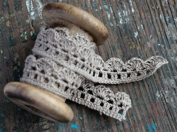 Hand Crocheted Linen Edging, Lace Trim -- brownish natural