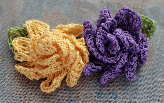 Crochet Linen Flowers Brooches - set of 2