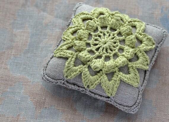 Linen  pincushion - crochet motif -- chartreuse