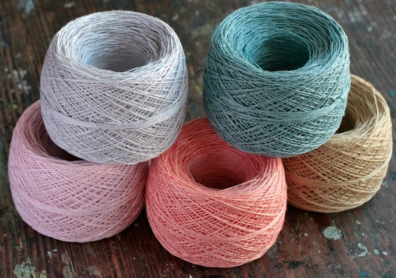 Linen yarn thread -- five balls -- pastel