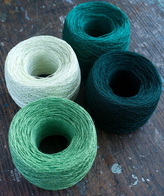 Linen yarn thread -- four balls -- green, dark green