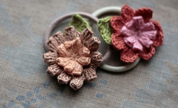 Linen crochet Ponytail Holders - set of 2