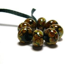 Raku on Black - Handmade Lampwork Glass Beads SRA