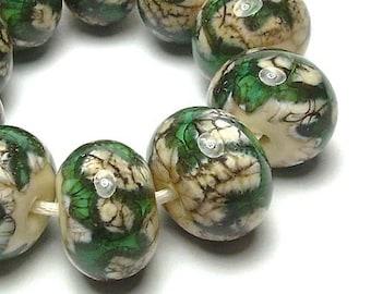 Handmade Lampwork Glass Beads - Silvered Jade