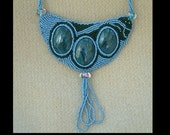 Roses in Moonlight - Artisan Handmade Bead Embroidered Necklace - ON SALE