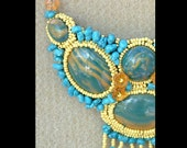 Turquoise and Yellow - Artisan Handmade Bead Embroidered Polymer Clay Necklace