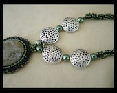 Raspberry Olives - Artisan Handmade Bead Woven Pendant Necklace