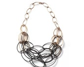 Maya necklace - two-tone, ombre statement necklace in steel and bronze