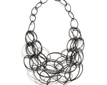 black and silver chain link statement necklace - original Maya necklace by megan auman