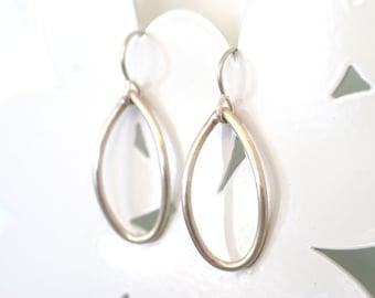 single silver leaf earrings
