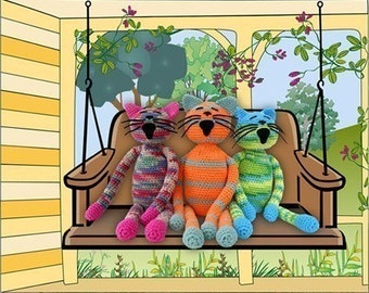 cat art digital print, funny, animal art, kids room decor, colorful humorous artwork, digital collage, crochet