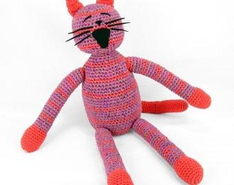 peggy -  orange striped purple plush crocheted cat softie
