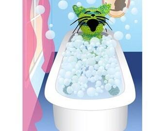 crocheted cat in bubble bath digital print
