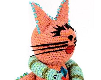 crocheted & jeweled snake handler cat softie plush animal