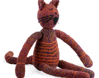 renee -  ruby crocheted plush cat softie with orange lines
