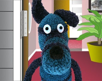 crocheted dog print, funny, animal art, blue dog opening door, kids room decor, colorful humorous artwork, digital collage