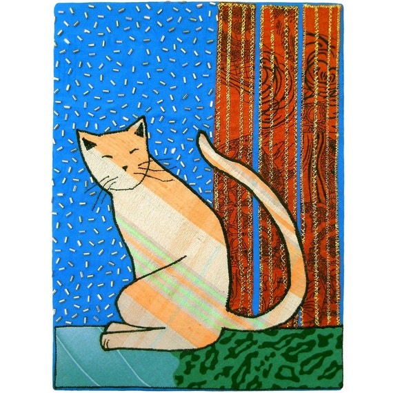 fabric collage cat wall art