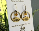 "Lotus Flower Earrings in Vintage Brass ""Blooming Lotus at Sunrise"""